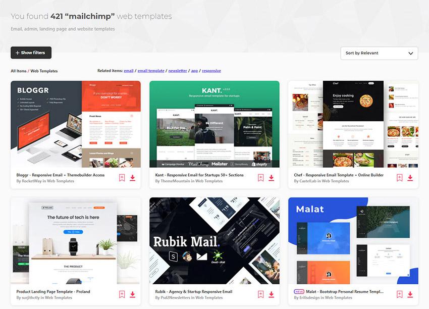 Image of elements envato web templates mailchimp items