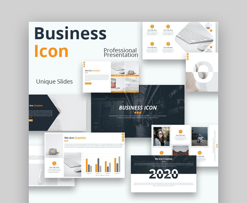 Business Icon Cool Modern Powerpoint Template