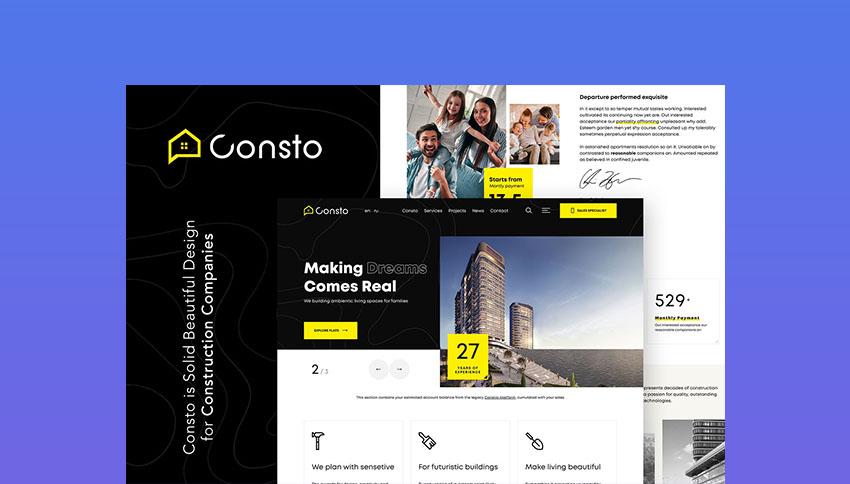 Consto WordPress Template For Best Construction Websites