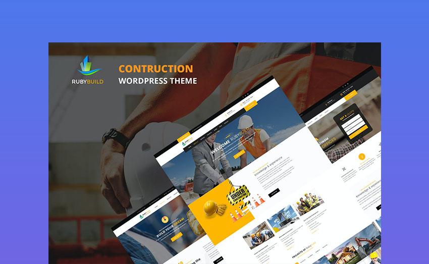 RubyBuild WordPress Template For Top Construction Websites