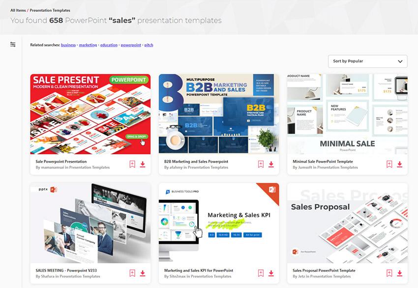 Envato Elements sales presentation templates