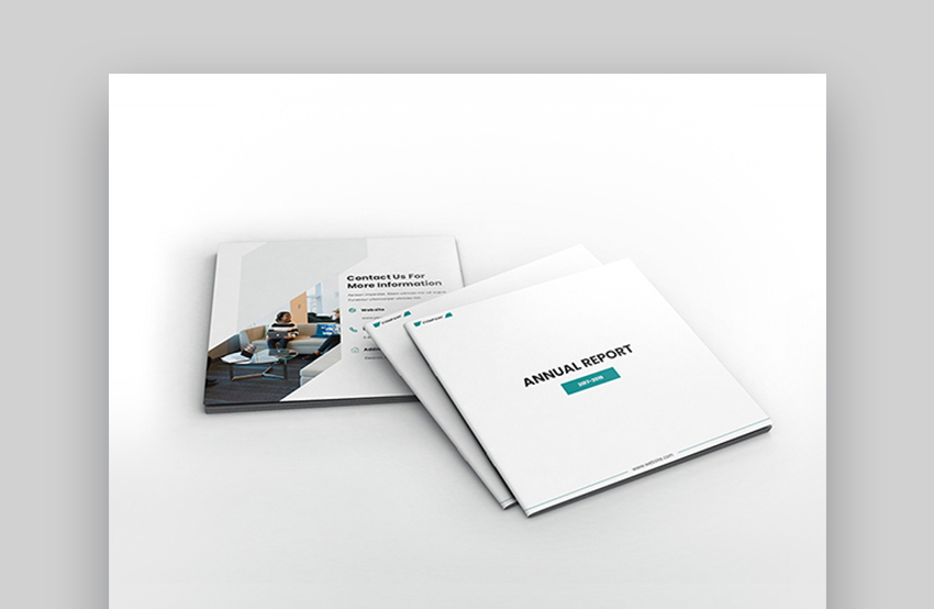 Square Brochure Annual Report Layout Design