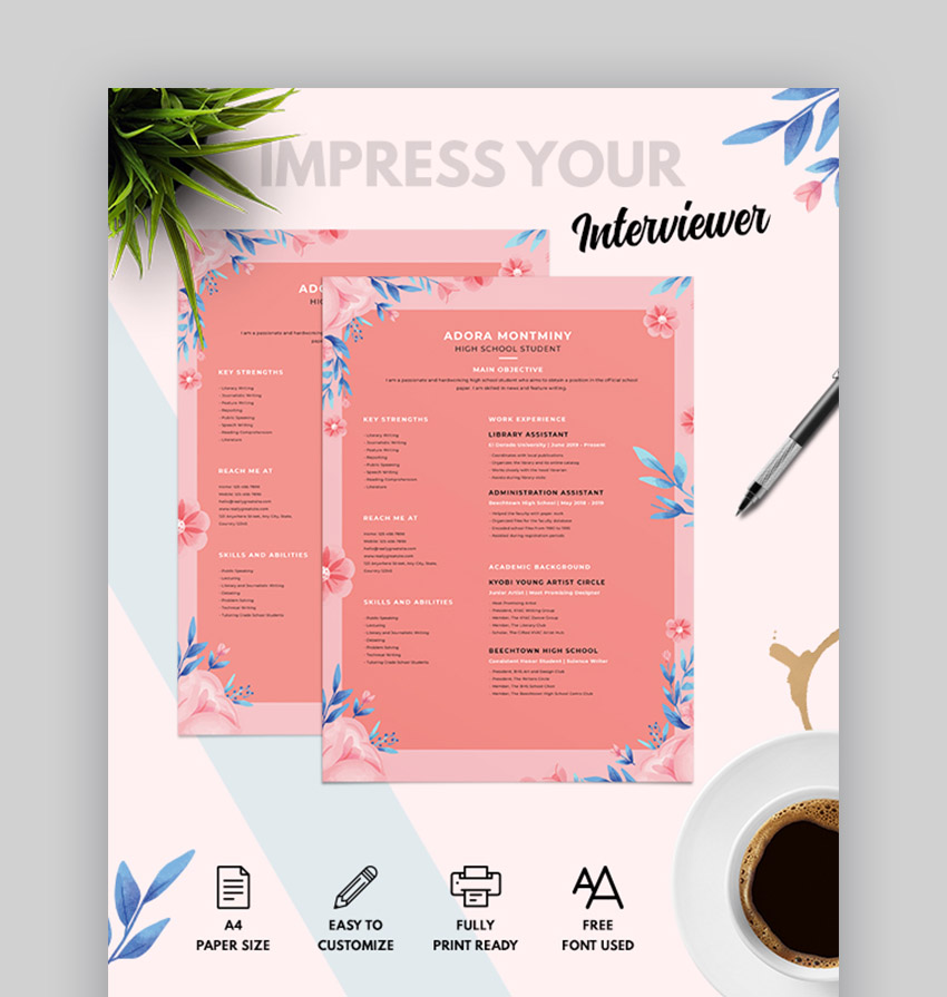 Unique Resume With Floral Design