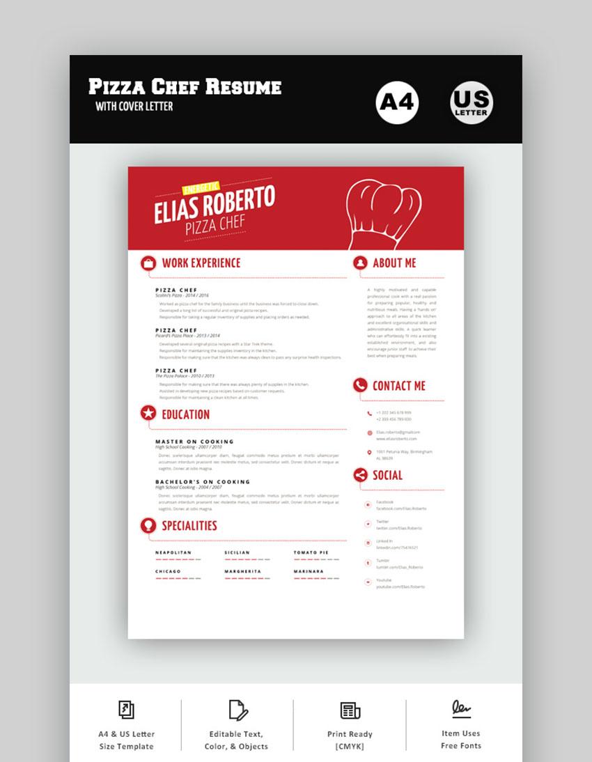 interesting sleek resume for pizza chef