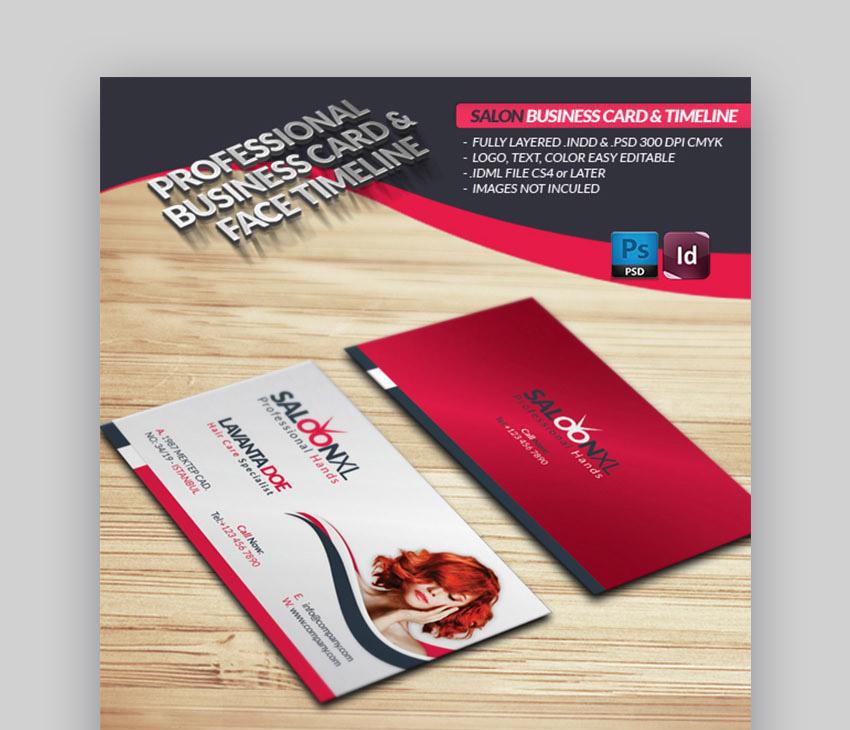 Salon Business Card Face Timeline