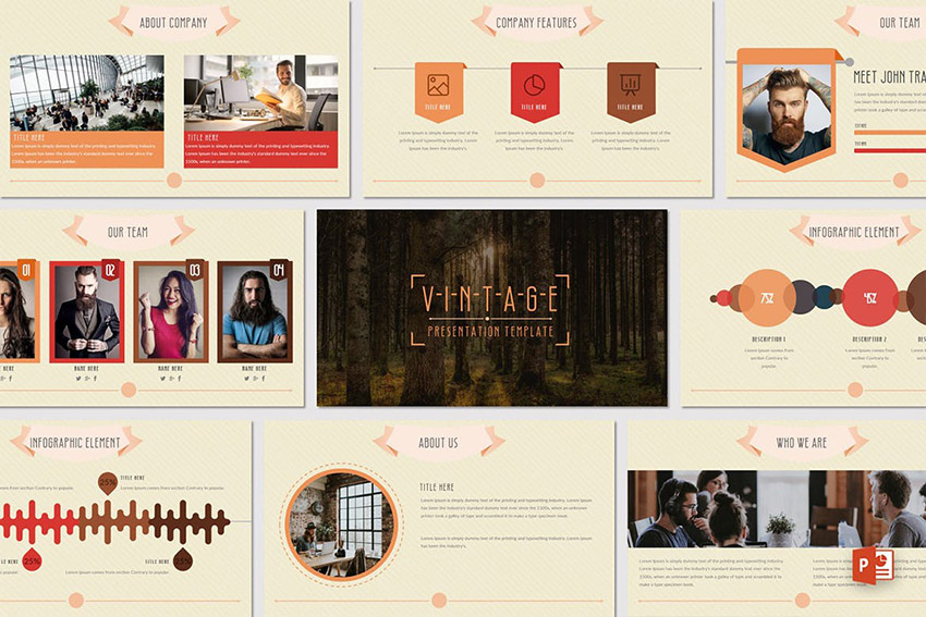 Vintage Online PowerPoint Design With Infographics