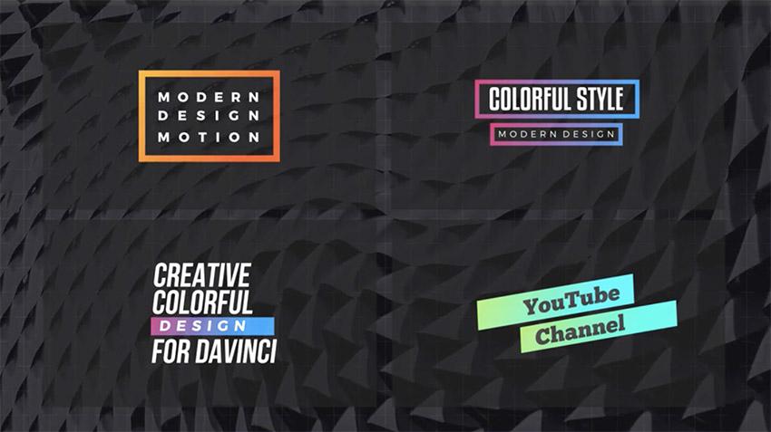 Colorful DaVinci Resolve Title Templates
