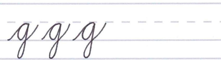 cursive calligraphy - letter g multiples