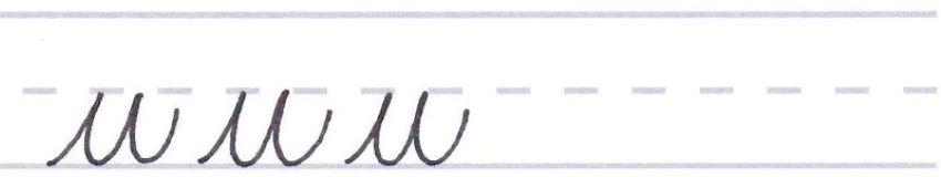 cursive calligraphy - letter u multiples