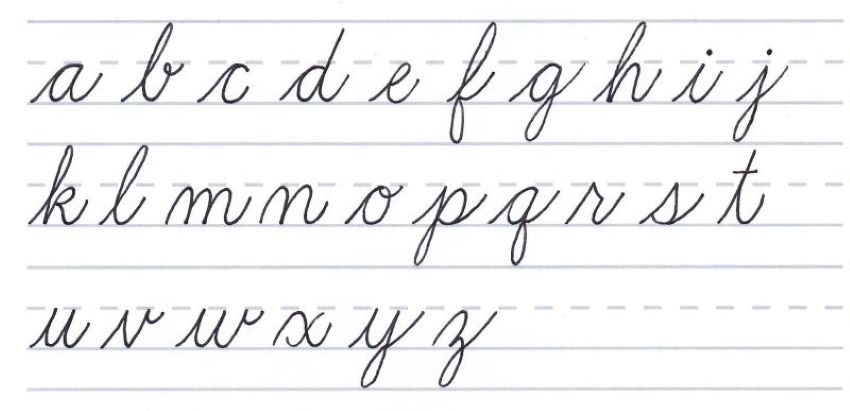 cursive calligraphy - lowercase letters