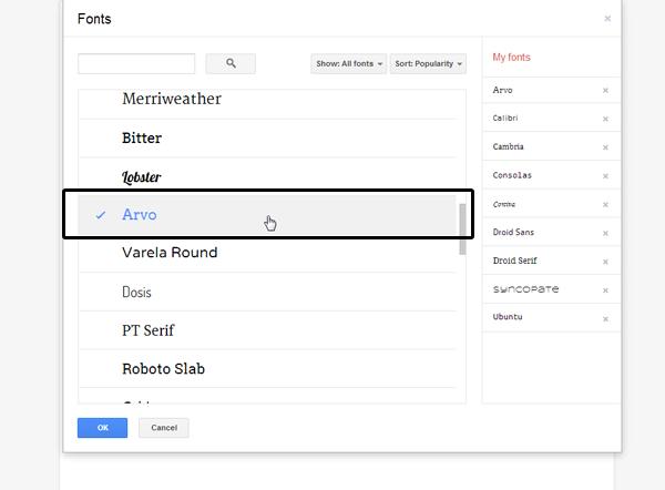 Adding Arvo font into the font list