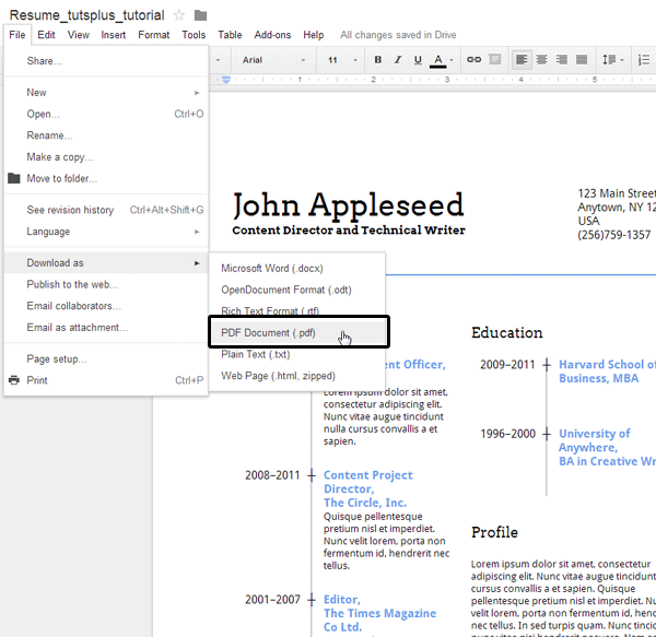 Exporting a resume as a pdf document