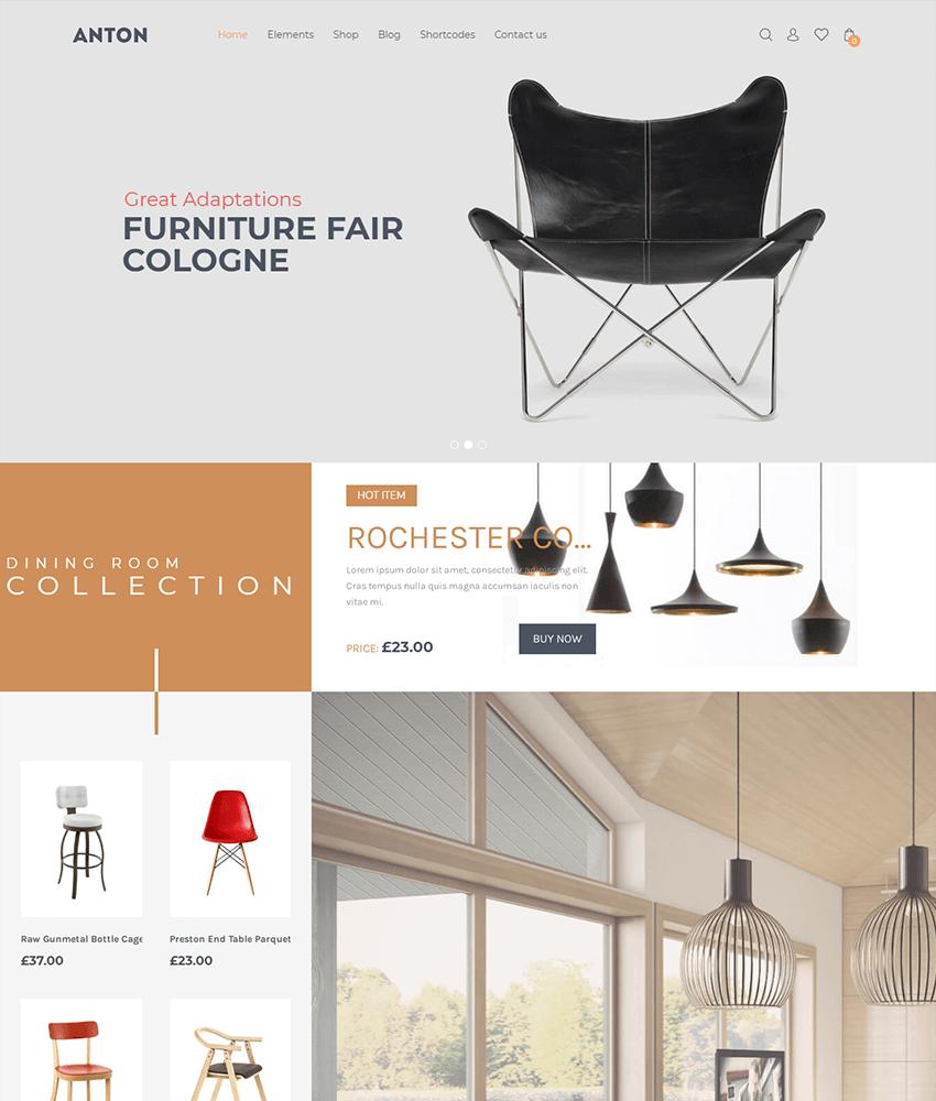 Anton - a Wordpress theme for furniture websites