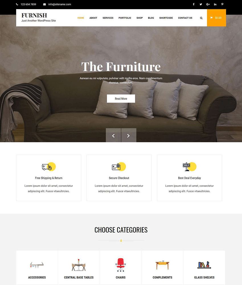 Furnish Lite - a free theme for furniture stores