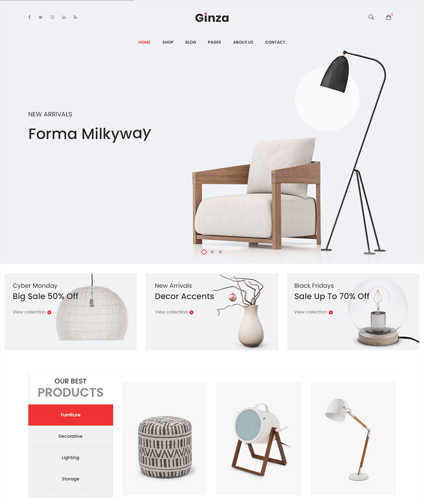 Ginza is a beautiful wordpress theme for online furniture stores