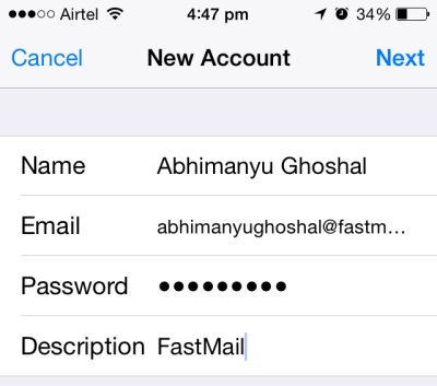 Setting up Fastmail on iOS