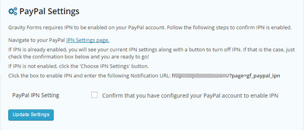PayPal Settings for Gravity Froms