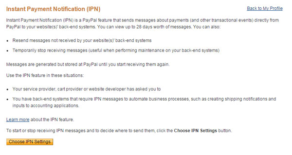 PayPal IPN Settings page