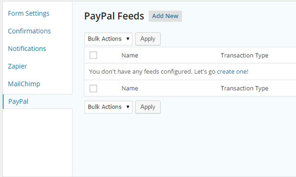 PayPal Feeds setup for Gravity Forms