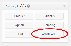 Credit Card Option in Gravity Froms