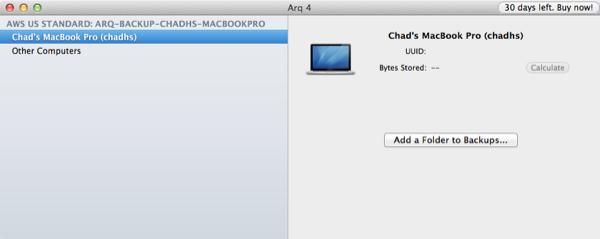 Arq Add Folder to Backup Selection