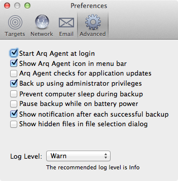 Arq Advanced Preferences