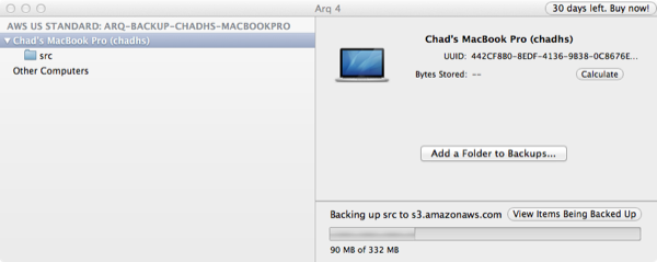 Arq Backup Progress
