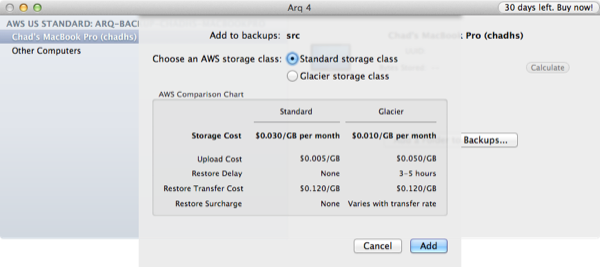 Arq Choose Storage Type