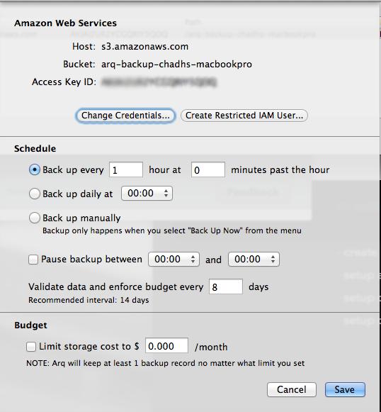 Arq Edit Backup Settings