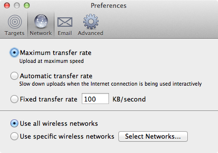 Arq Network Preferences