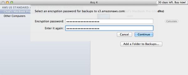 Arq Set Encryption Password