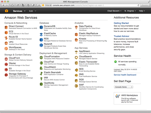 Amazon Web Services Account Panel
