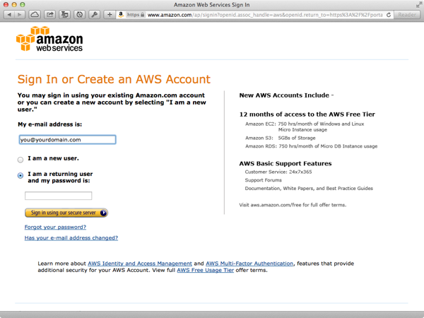 Amazon Web Services Account Setup
