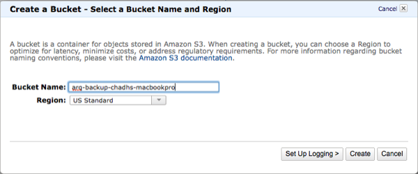 Amazon Web Services S3 Create Bucket