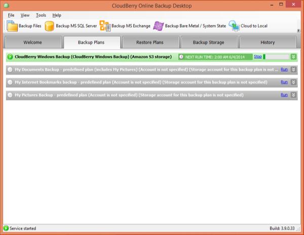 CloudBerry Backup Status Screen Two