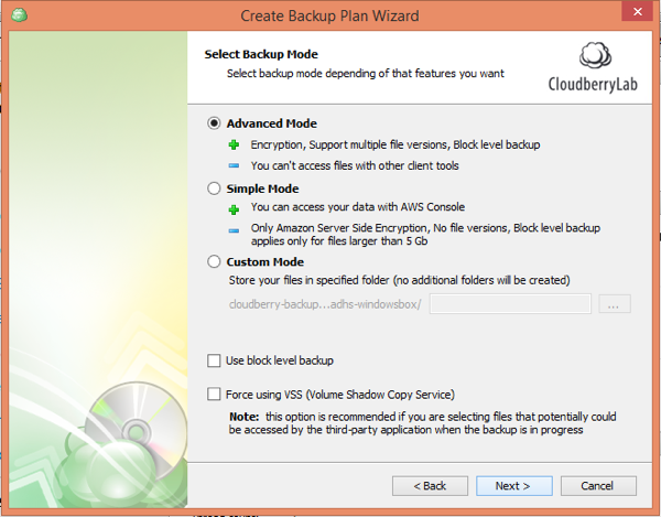 CloudBerry Backup Wizard Backup Mode