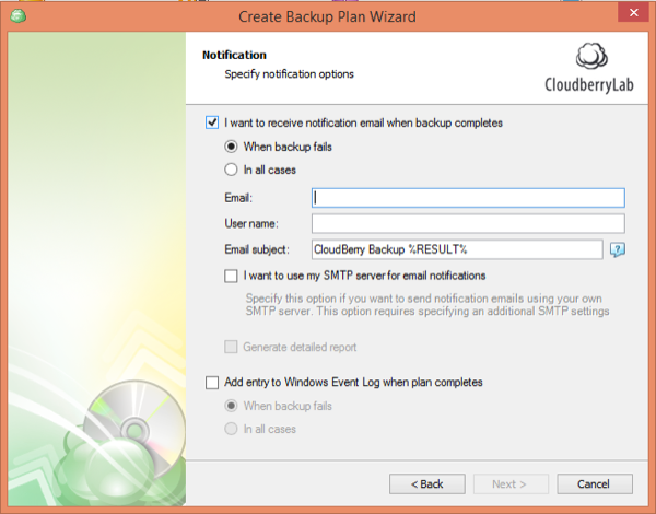 CloudBerry Backup Wizard Notification