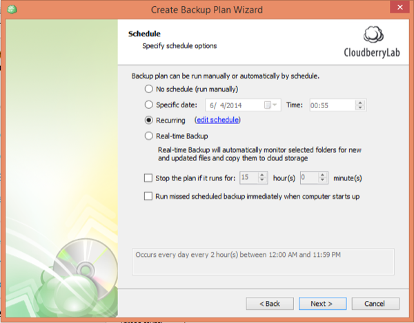 CloudBerry Backup Wizard Schedule