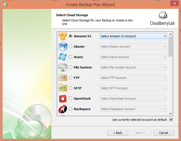 CloudBerry Backup Wizard Select Storage