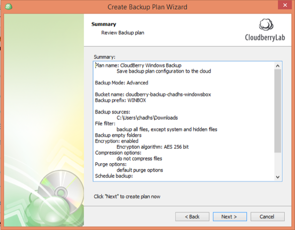 CloudBerry Backup Wizard Summary
