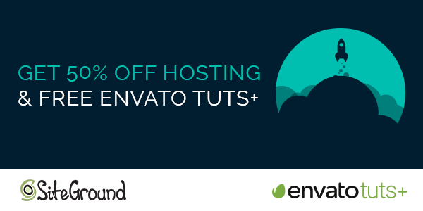 50% Off Hosting and Free Envato Tuts+