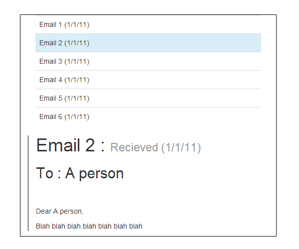 Email application mock-up on a resized view