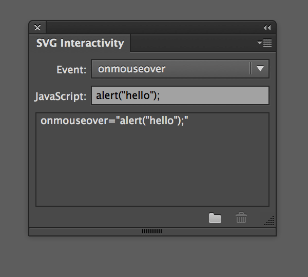 This Event Will Determine The Cirstances Under Which Our Javascript Will Take Effect In The Svg Interactivity Palette Choose An Event In The Event
