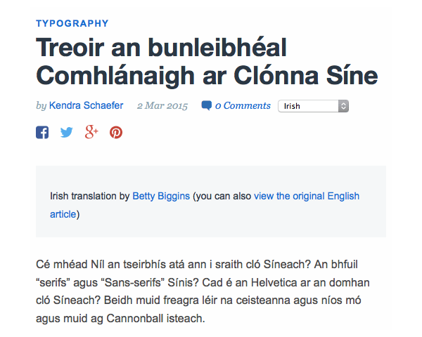 Live Irish translation