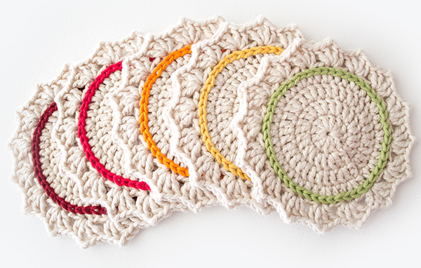 Make Crochet Pattern : Make a Set of Five Ombre Crocheted Coasters