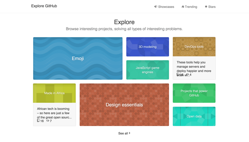 The Explore section on GitHub