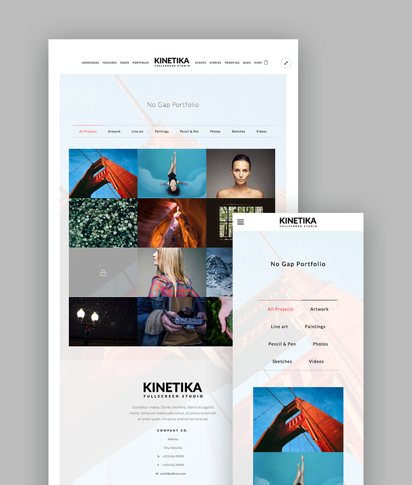 Kinetika - Fullscreen Creative Photography WP Theme