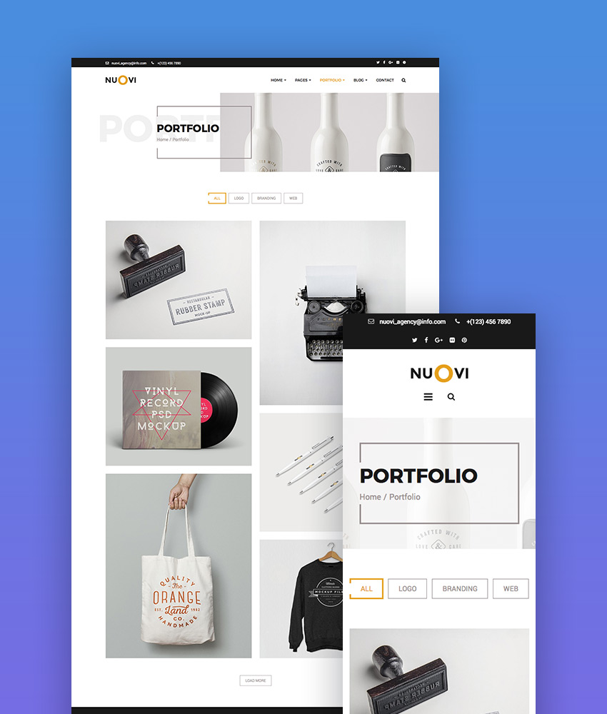 Nuovi creative website template on Envato Elements