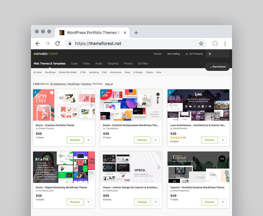 Creative Portfolio WordPress Themes on Themeforest