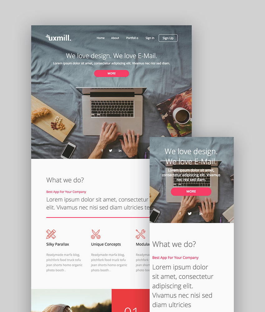 Best mailchimp templates to level up your business email newsletter 2018 uxmill responsive email template accmission